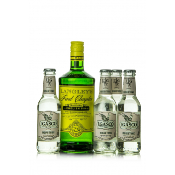 Gin Langley's First Chapter + 4 db J. Gasco Indian Tonic (0,7 l+4X0,2 l, 38%)