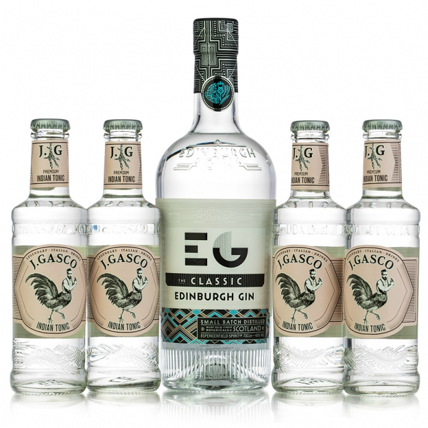 Gin Edinburgh Dry + 4 db J.Gasco Indian Tonic (0,7l +4X0,2l, 43%)